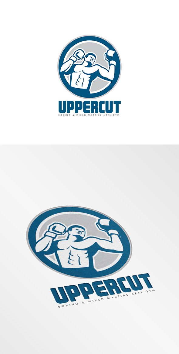 Uppercut Boxing Mixed Martial Arts Gym Logo. Logo showing illustration of a boxer boxing punching set inside circle done in retro style. 100% re-sizeable vectors. Logo available in vector