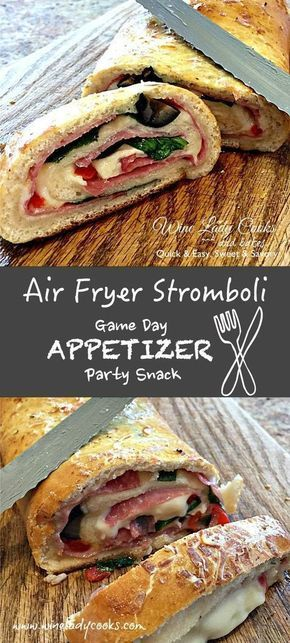 Air Fryer Stromboli ham cheese spinach appetizer quick and easy snack. Click thru for both air fryer and oven baked recipe. #stromboli #airfryer #gameday #appetizers