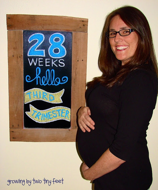 28 weeks Baby Bump Chalkboard - Growing By Two Tiny Feet