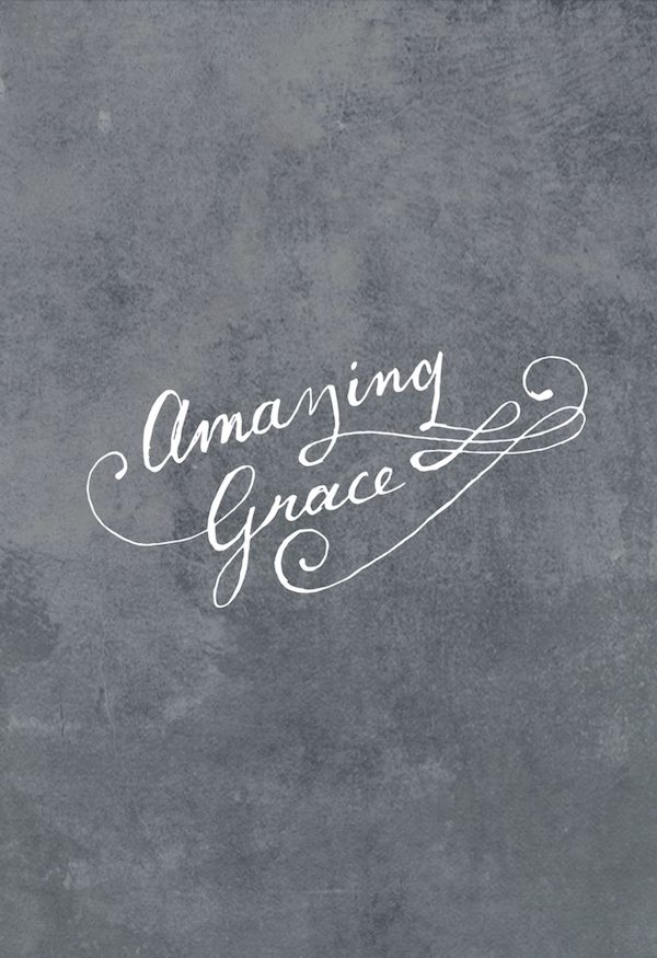 Hand painted typography wall art of John Newton's Amazing Grace song for christian canvas wall art