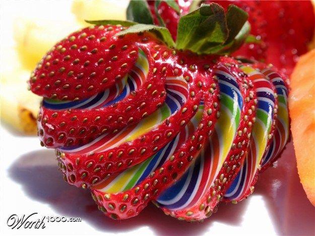 Sliced'n Diced 7 - Worth1000 Contests: Rainbow Strawberry, Colors Bb, Sliced N Diced, Chronicle Colors, Strawberries, Fruit Candy, Rainbow Colors, Things Strawberry