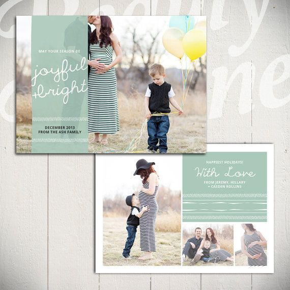 Christmas Card Template: Happiest Holidays D - 5x7 Holiday Card Template for Photographers | By Beauty Divine Design on Etsy