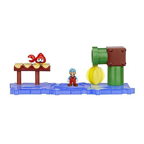 Nintendo – JAKKNIN019SWIM – World of Nintendo Micro Land Playset – Sparkling Water avec Ice Mario Figure: Recréer vos niveaux de jeux vidéo…