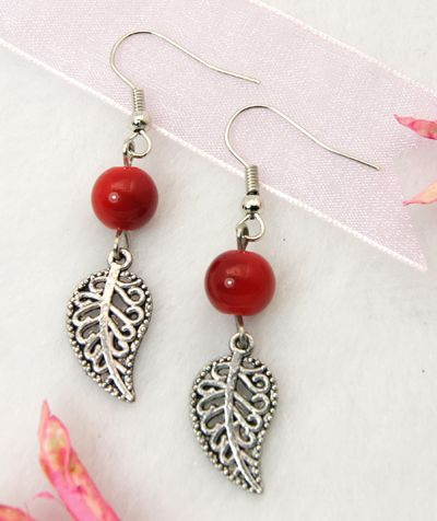 Fashion Earrings, with Tibetan Style Pendant, Glass Beads and Brass Earring Hook, Red, 48mm