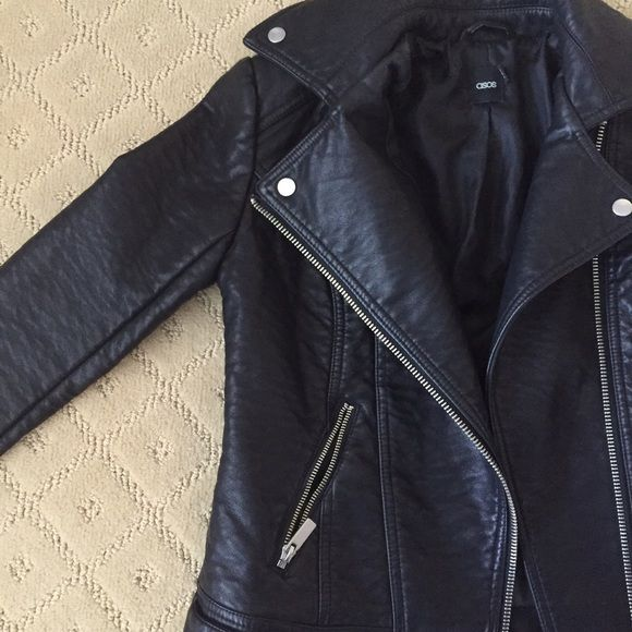 Re-posting Asos leather jacket Black leather jacket. Re-poaching because my shoulders are too big for this. Great condition and super cute!! ASOS Jackets & Coats