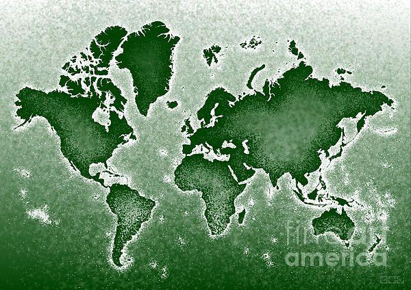 World Map Novo In Green by elevencorners. World map wall art print decor #elevencorners #mapnovo