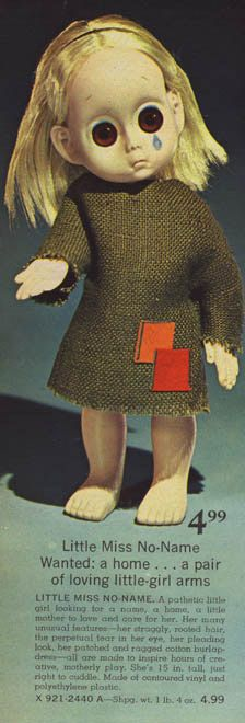 I didn't have one of these 1965 Little Miss No Name dolls, but I thought it creepy enough to mention.
