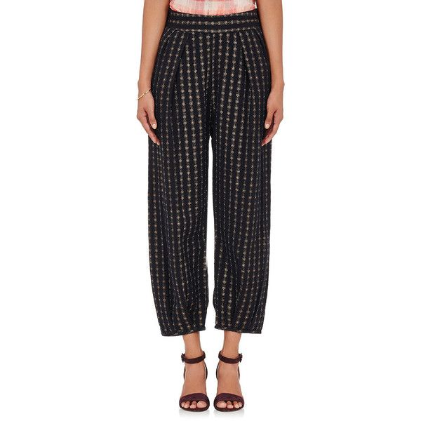 Ace & Jig Women's Casbah Mixed-Striped Gauze Pants (3.198.000 IDR) ❤ liked on Polyvore featuring pants, black, stripe pants, gauze pants, metallic trousers, stretch waist pants and pull on pants