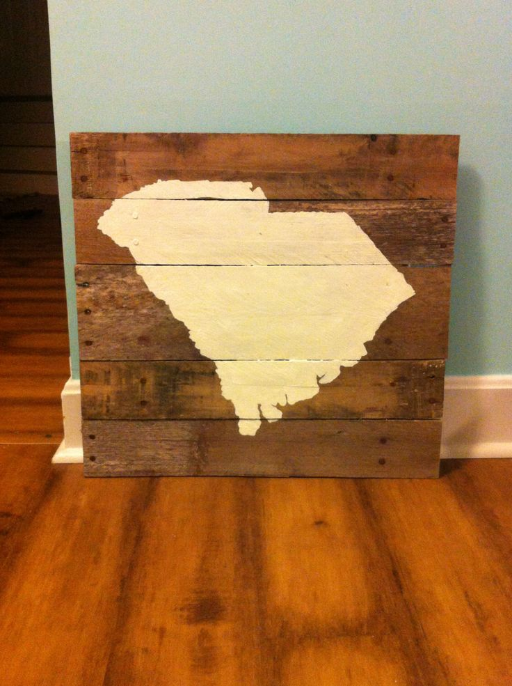 Large South Carolina Reclaimed Wood state map, pallet wood ...