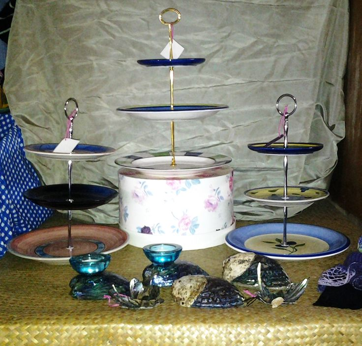 Tiered cake plates and Paua shell tea candle holders