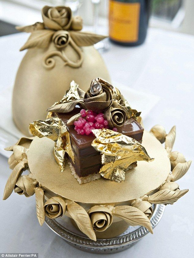 Cadbury, eat your heart out: This dessert is made with four different types of finest Belgian chocolate and dressed with champagne caviar and gold leaf. The piece de resistance is a two-carat diamond Bella Donna