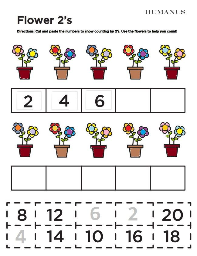 Flower 2 S A Free Counting By 2 S Worksheet For Kids With