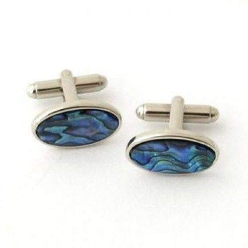 Paua and Sterling Silver Oval Cuff Links