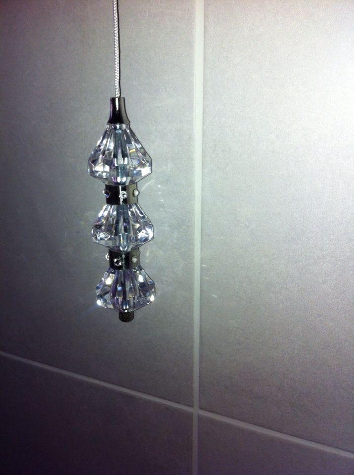 i 39 ve added swarovski crystals to my bathroom light pull. Black Bedroom Furniture Sets. Home Design Ideas