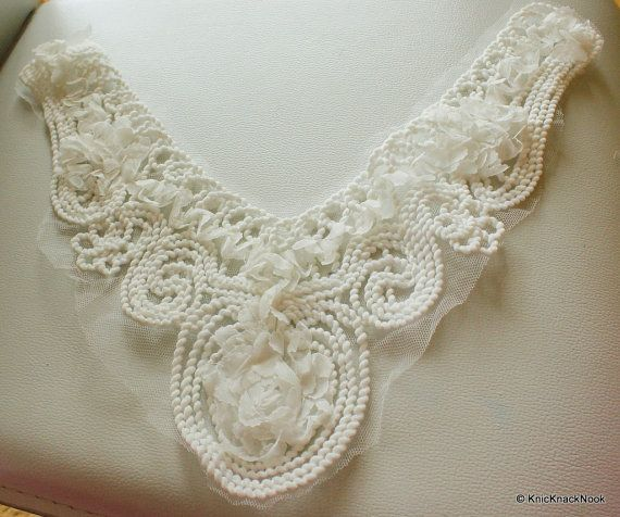 White Shabby Rose Fabric Flower And Thread Design by KnicKnackNook