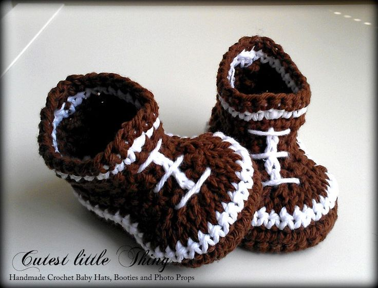 Football Crochet Baby Boy Booties Baby Boy by CutestlittleThing