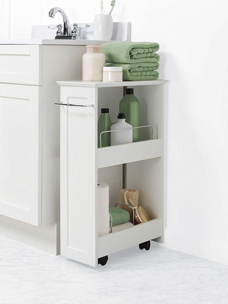 Details über Bad Bodenablage Rollschrank Organizer Bad Toilette Handtuch Regale Weiß