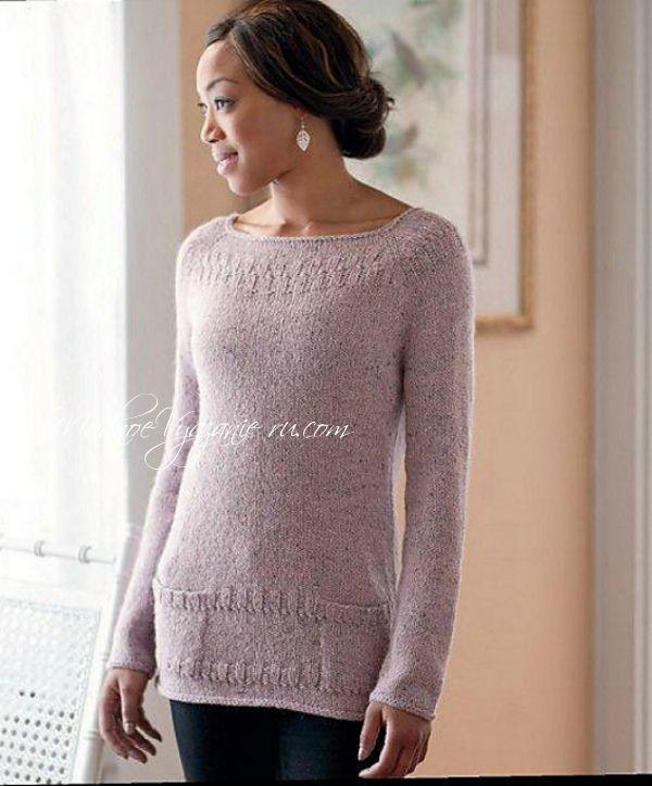 Пуловер спицами Cecily