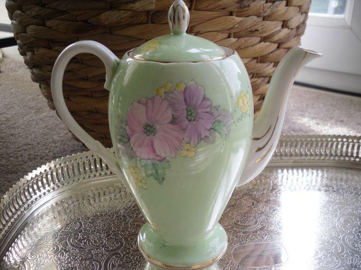 vintage fine bone china teapot coffee pot Foley Begonia # 1773 pale green floral