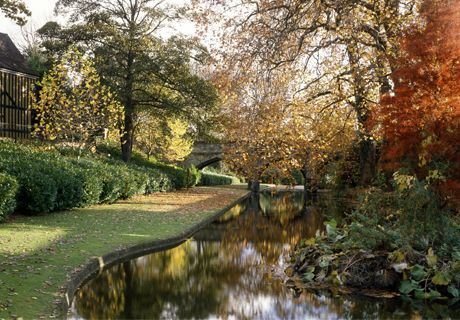The moat and medieval bridge at Eltham Palace.