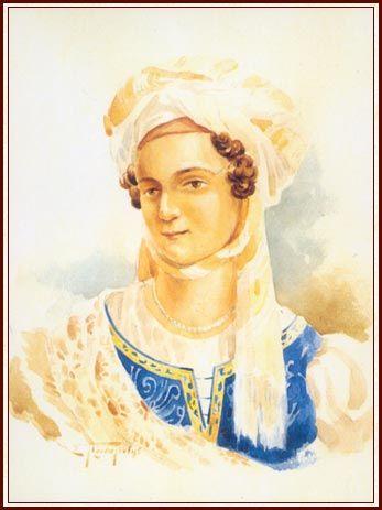 Bouboulina. Watercolour by Sp. Prosalendis.