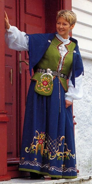 Modern Bunad of Karmoy Island, Norway. (Lord of the Rings village costume?)  FolkCostume&Embroidery: Overview of Norwegian Costumes part 3A, the West