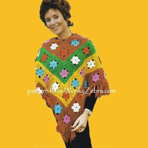 WZ950 faf flower motif crochet poncho;perfect for festivals! it   comes with a pattern for a knitted one too in good size range,WonkyZebra Vintage Crochet Pattern PDF 00950
