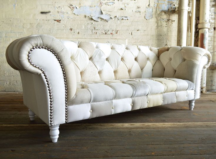 Modern British and handmade subtle Cream Patchwork Chesterfield Sofa. Totally unique fabric 3 seater, shown in a range of cream colours. | Abode Sofas