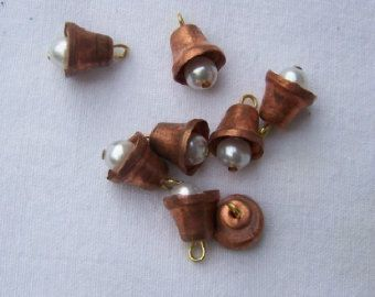 Vintage Copper Bell Charms Drops with Pearl Clapper chr168