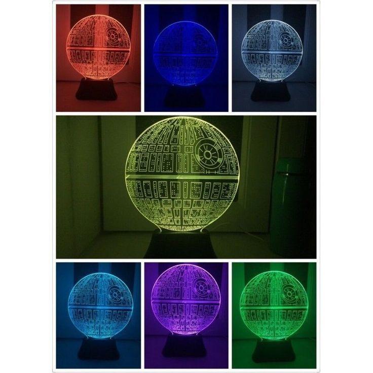 Consegna 5-8 gg STAR WARS Morte Nera Lampada Death Star Lamp LED ILLUSIONE OTTICA  3D