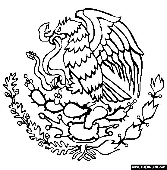 Coat Of Arms of Mexico Online Coloring Page                                                                                                                                                                                 More