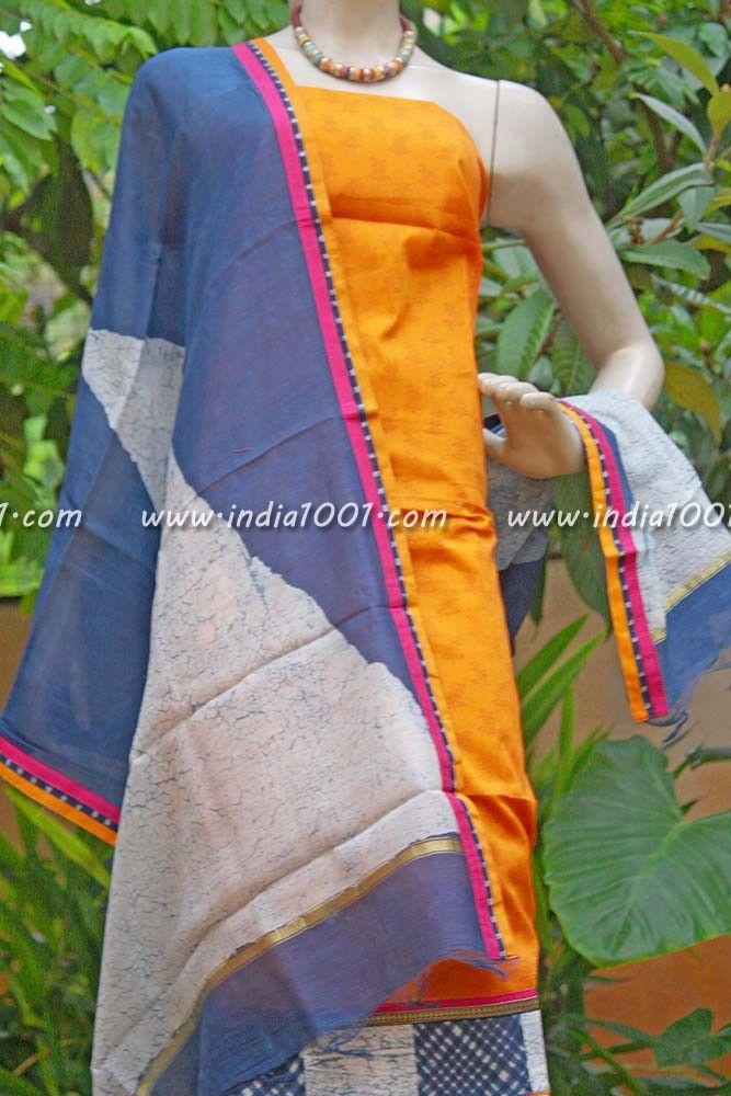 Elegant Maheshwari Cotton Silk Unstitched suit | India1001.com