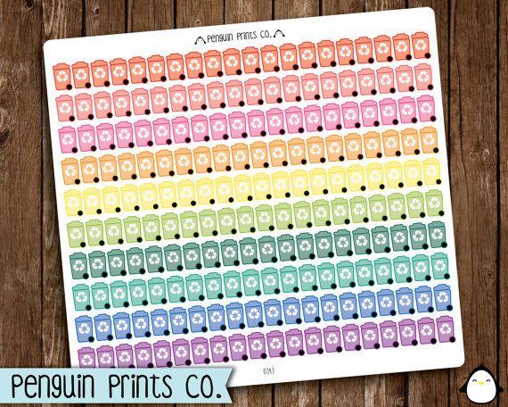 Recycle Stickers, Recycling Bin Sticker, Rainbow Sticker, Matte Stickers, Removable Stickers, Repositionable, Icon Stickers, Planner Sticker