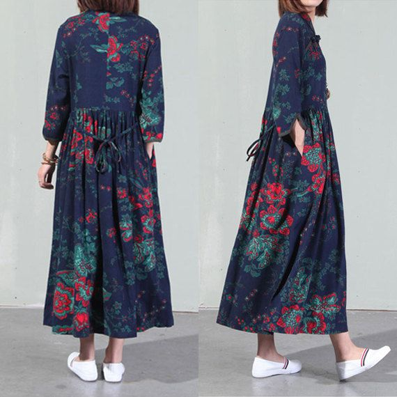 Vintage dresses ethnic clothing cotton dress women by Aliceswool