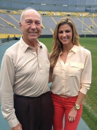 Great photo of Erin Andrews after finishing an interview with Bart Starr. Former University of Alabama Great Quarterback.