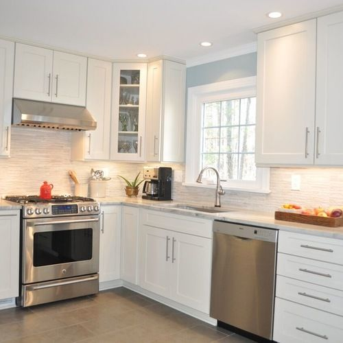 white kitchen cabinets with stainless steel appliances slate blue eat in kitchen design ideas remodels amp photos 29044