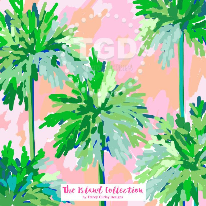 Palm Trees and Pink Skies digital paper, preppy digital paper, preppy design, pink green paper, digital paper, The Island Collection by TraceyGurleyDesigns on Etsy