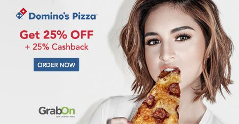 Have A Lip-Smacking Wednesday With #Dominos! Get 25% Off on Rs. 350+ Extra 25% #Cashback. Hurry! Order Now - http://www.grabon.in/dominos-coupons/