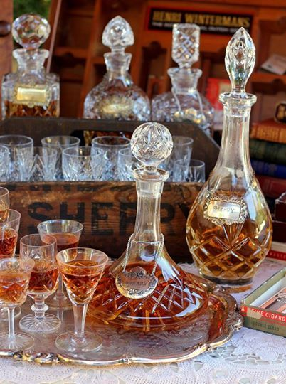 Antique Sherry Decanters. We don't necessarily have to put drinking stuff in them, we could just put colored water in them
