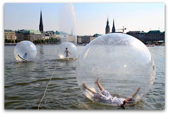 "[""Walk Water Balls"" on Lake Alster in Hamburg, Germany] #travel"