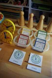 Telling time-- This is a GREAT link to tons of Montessori ideas for telling time!