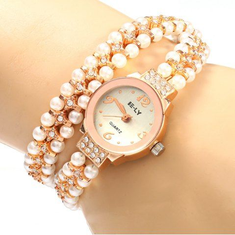 SHARE & Get it FREE | IE-LY 629 Female Diamond Quartz Watch with Pearl Band…