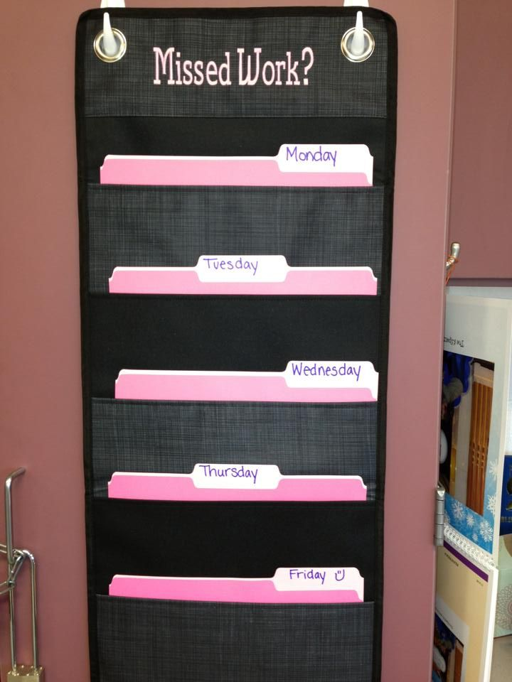 Teachers: the Hang-Ups Family Organizer is perfect to use in the classroom! I like this idea better than the absent folders, easier to place the extras in the folder and reduce clutter on the desk!