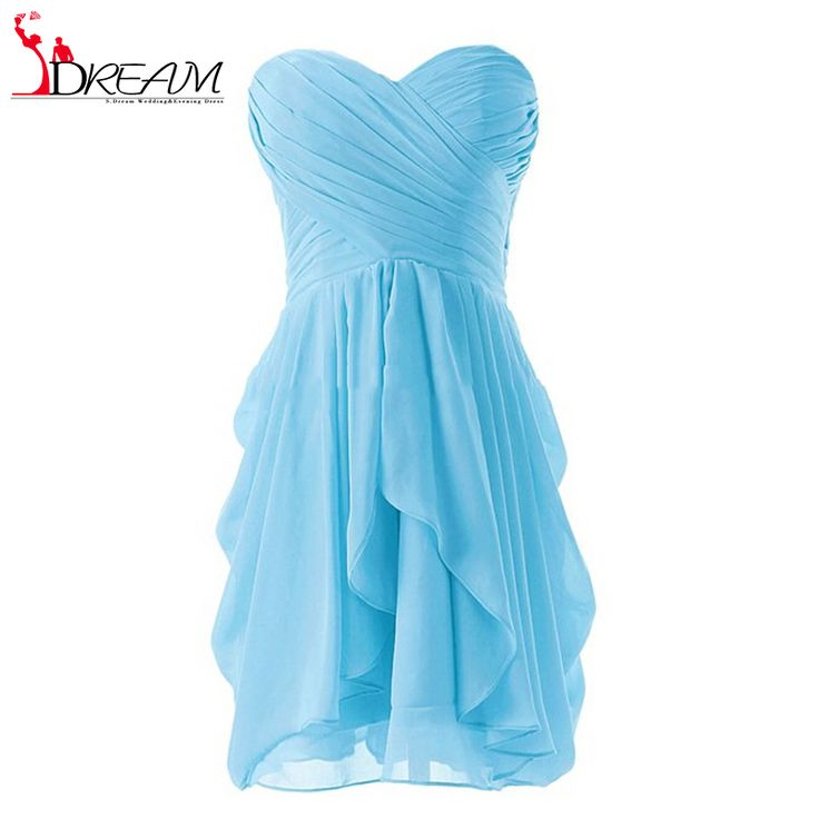 Real Sample Cheap Girl Short Sweetheart Bridesmaid Dresses 2016 Pleat A Line Ruffles Chiffon Formal Party Dress for Wedding