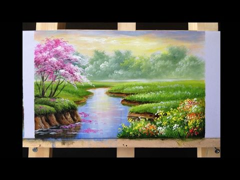 Beautiful Painting Of House On The Lake PART 1 - YouTube