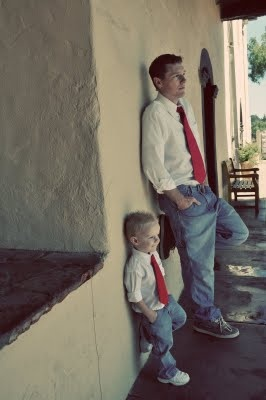 Another really at father and son pose....Won't want to dress like dad for forever!