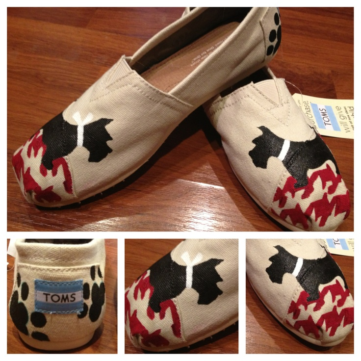 Find my page on Facebook designs by Kayla Hainer  Boy and girl Scottie dogs painted Toms with houndstooth ;)