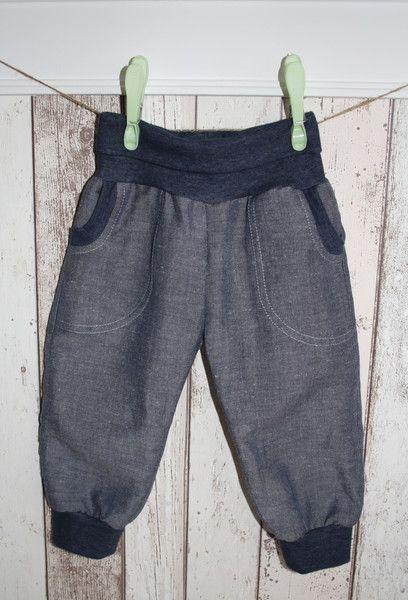 Leinen+-+Jeans++Pumphose+**Benn**+,+Gr+74/80+von+made_by_JaLy+auf+DaWanda.com