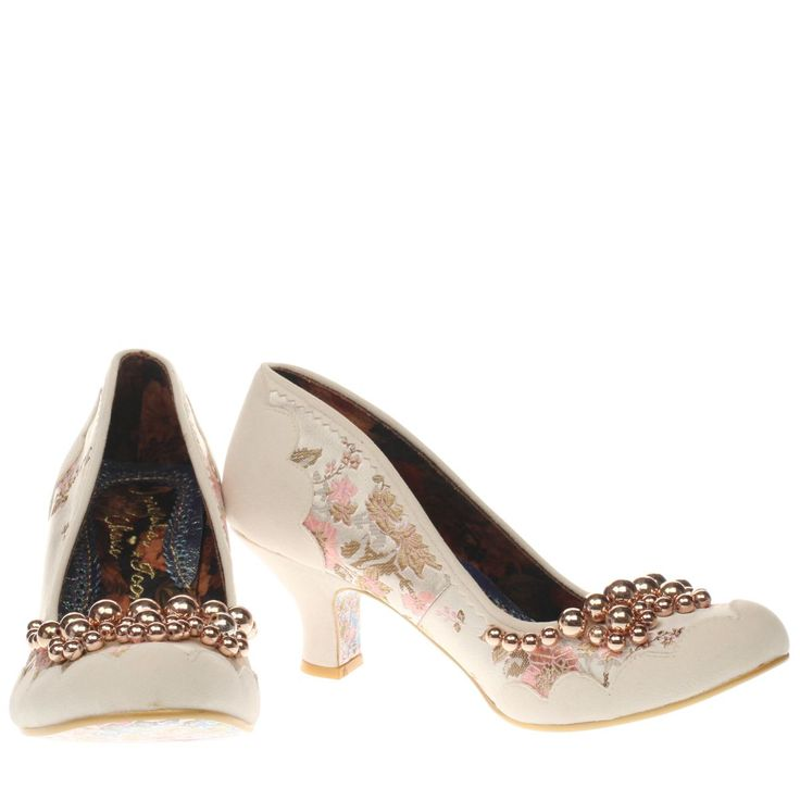 womens irregular choice white & gold pearly dazzler low heels