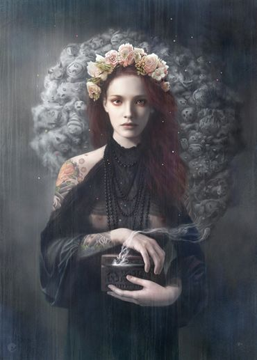 "pandora  by tom bagshaw  cool fact about Tom, I asked him to help me judge the AFA header challenge, and Tom polite and gentle as ever, told me that it was a great idea but he did not felt confortable judging other people art! and he finished with -> ""btw great work you've been putting through AFA!!"", and me (with that right side of the brain in a size of a pea), I went to urban dictionary looking up for AFA and it gave me Aint Fucking Around, so I though it was a ""sweet"